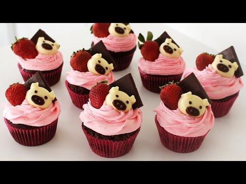 Chocolate Strawberry Cupcakes | いちごチョコのカップケーキ