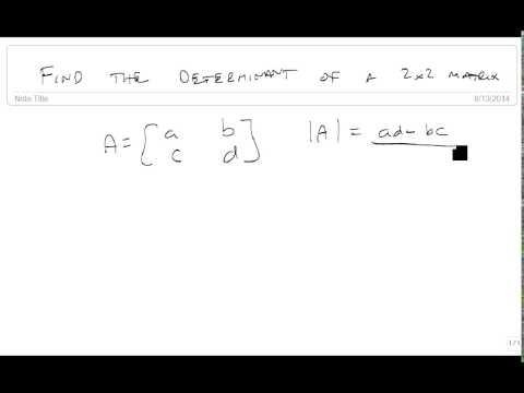 Find determinant of 2x2 matrix
