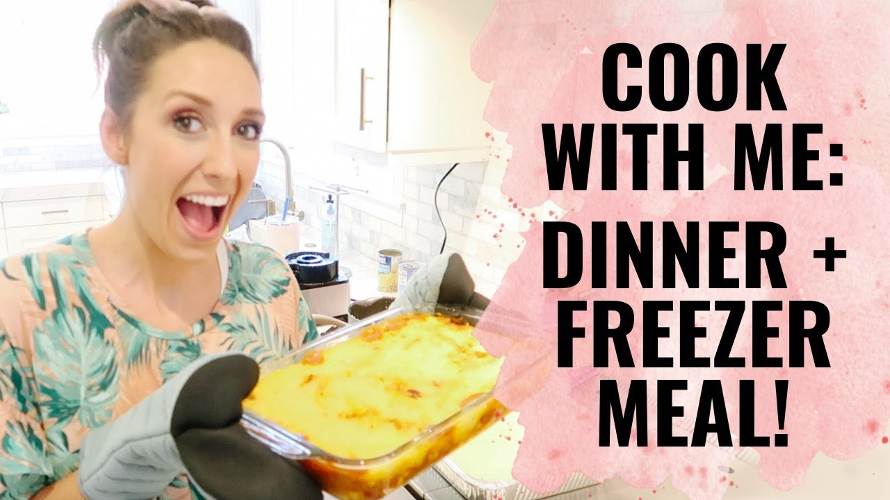 Cook with me! Dinner plus freezer meal. Shelf Cooking with Jordan Page