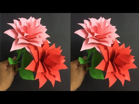 How to Make Rose Paper Flower | Making Paper Flowers Step by Step | DIY-Paper Crafts