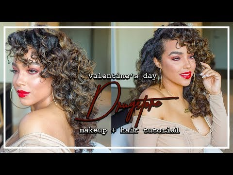 DRUGSTORE ONLY Valentine's Day Smokey Red Makeup + Curly Hair Tutorial