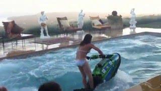 Amazing Jet Ski flips in a swimming pool!