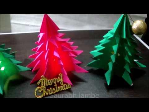 3D Christmas Paper tree decorations DIY.