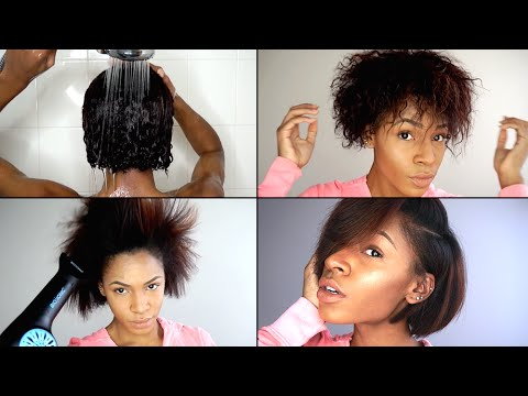Wash, Blow Out & Flat Iron Routine for Natural Hair | VICKYLOGAN