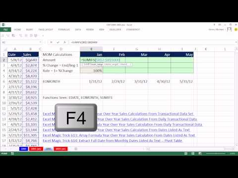 Excel Magic Trick 1065: SUMIFS: Month Over Month Sales Calculations From Transactional Data Set