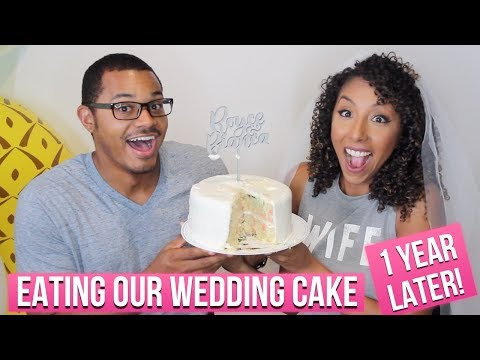 Eating Our Wedding Cake 1 Year Later! 1 Year Wedding Anniversary! | BiancaReneeToday