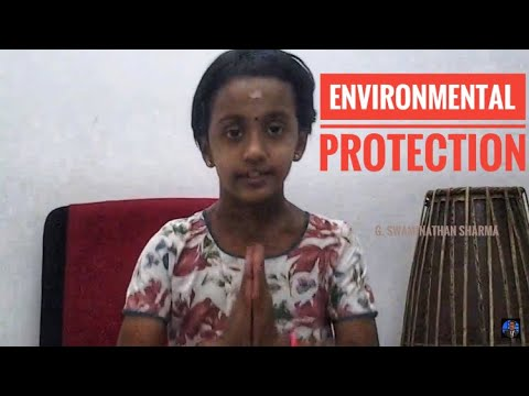 Nanthini Swaminathan Sharma delivering  Speech on   Environmental Protection in Tamil