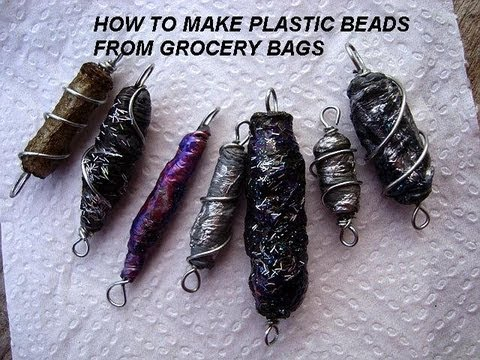 PLASTIC BEADS from grocery bags, diy HOW TO, recycle plastic bags.  Handmade beads.