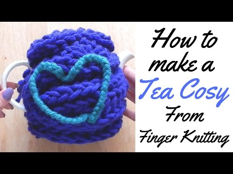 HOW TO MAKE TEA COSY FROM FINGER KNITTING- TEA COSY TUTORIAL / FINGER KNITTING/ LACING