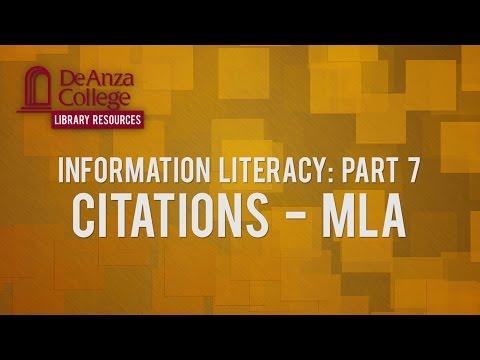 Information Literacy: Part 7 - Citations - MLA   De Anza College