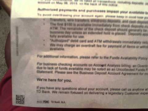 May 11 TD Bank on electric bill payment overdraft