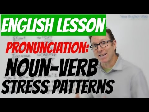 English lesson - Word stress rules (noun-verb syllable stress)