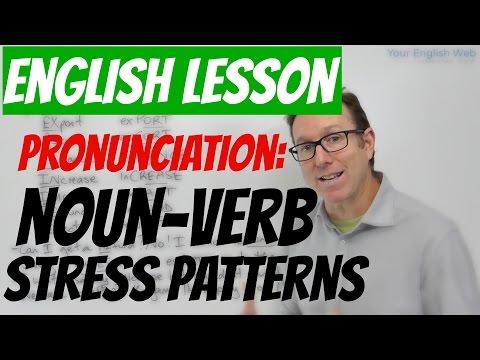 English lesson - Word stress rules (noun-verb syllable stress)