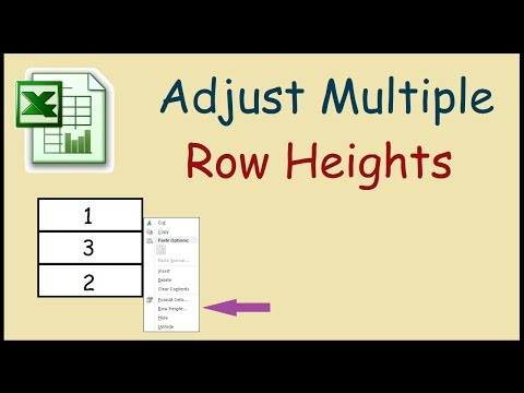 How to adjust multiple Row Heights in Excel 2010