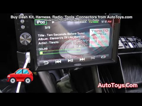Honda Civic JENSEN DOUBLE DIN RADIO INSTALL with DVD IPHONE 5 SD MP3 (8th GEN)