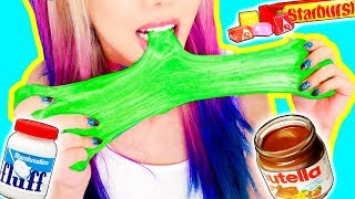 4 DIY Edible Candy Slimes! *SLIME YOU CAN EAT* GIANT GUMMY WORM SLIME, STARBURST, NUTELLA