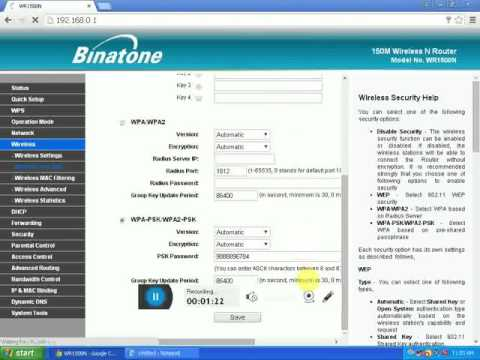 How to change Binatone modem wifi password