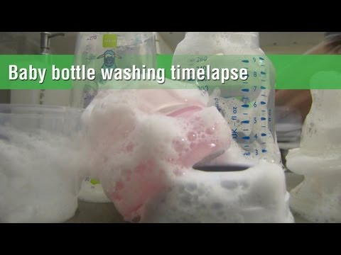 Baby bottle washing and sterilization in timelapse