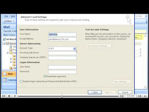 How to create an email account in Outlook 2007
