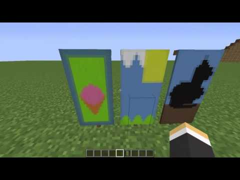 Minecraft Custom Banner Tutorial #1 | Ice Cream Landscape And Cat