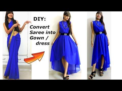 DIY: Convert/ Recycle/Reuse old Saree into High-Low GOWN/ DIY Maxi Dress