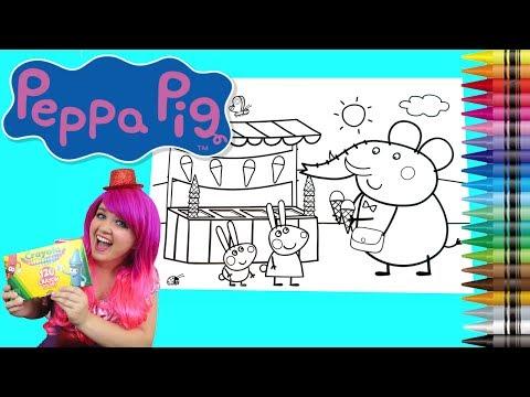 Coloring Peppa Pig Ice Cream JUMBO Coloring Book Page Crayola Crayons | KiMMi THE CLOWN