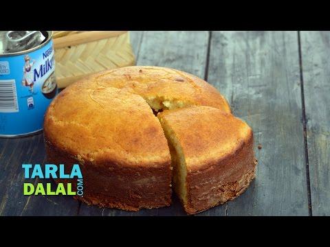 Eggless Vanilla Sponge Cake (Pressure Cooker) by Tarla Dalal