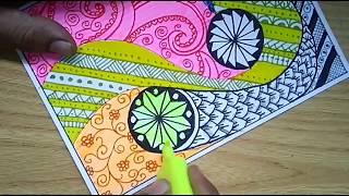 Batik Vignette Doodle Tangle Inspired