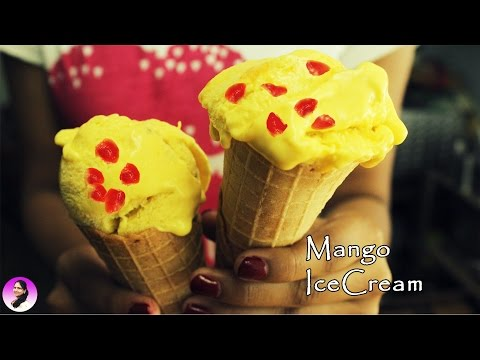 Mango Ice cream recipe with condensed milk, how to make mango ice cream