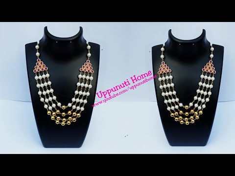 How To Make Designer Pearl Necklace at home | DIY | Bridal Necklace |Jewelry | Uppunuti Home