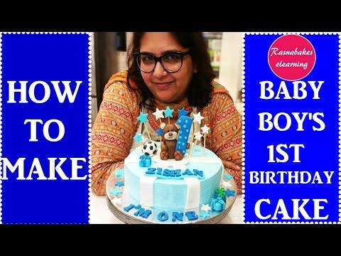 How to make baby boy's first birthday cake:decorating tutorial