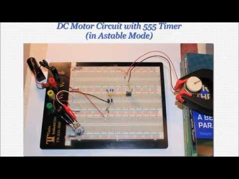 Speed-Adjustable DC Motor Circuit with 555 Timer