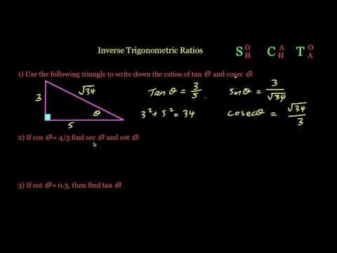 sec, cot & cosec - The Inverse Trigonometric Ratios