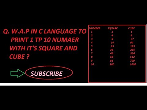 Program to find square and cube of 1 to n number in c language