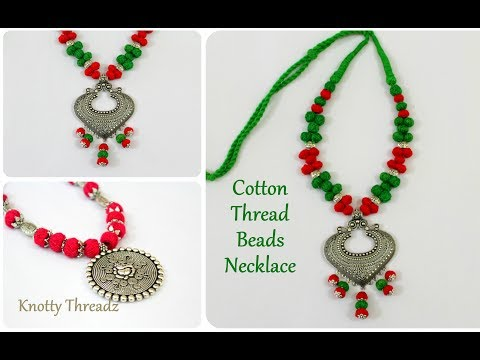 Antique Jewelry | Stylish Cotton Thread Beads Necklace | Oxidized Jewelry | DIY | knottythreadz.com