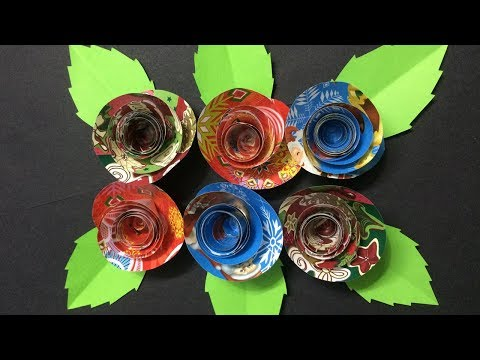 How to Make Small Rose Flower with Gift Wrapping Paper | DIY-Paper Crafts