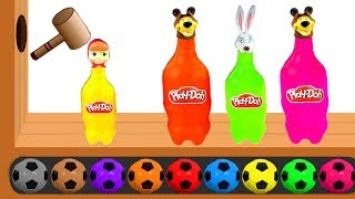 Learn Colors with Masha and The Bear Bottles Wooden Hammer - Learn Colours with Play Doh for Kids