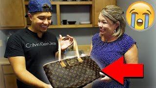 FAKE LOUIS VUITTON BAG PRANK ON MOM!! *She Got Emotional*