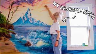 following the HARDEST bob ross tutorial on my bedroom wall!!