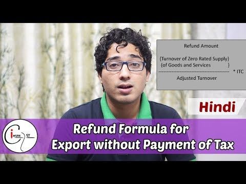 Refund Formula for Export without Payment of Tax