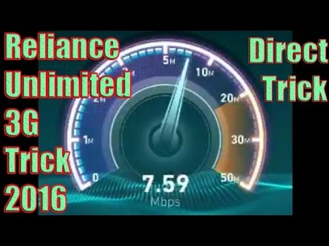 [2016] Reliance Unlimited 3G Latest Trick With Upto 8Mbps Speed For 28 Days (Speedtest in descrip.)