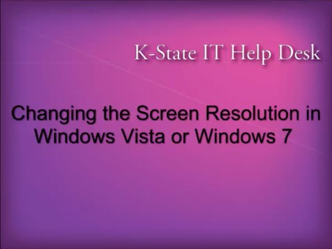 Changing the Screen Resolution in Windows Vista or Windows 7