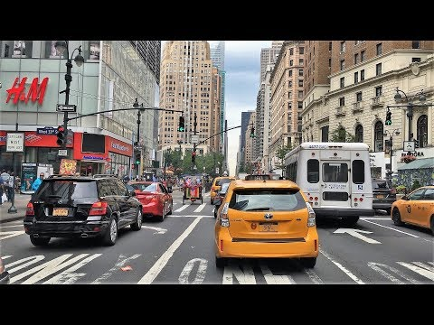 Driving Downtown - NYC's Americas Avenue 4K - New York City USA