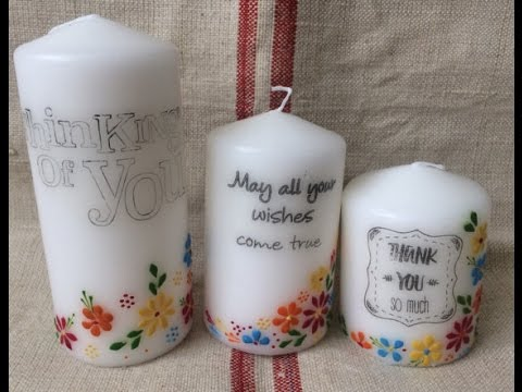 Candle decorating - personalised and wax painted candles