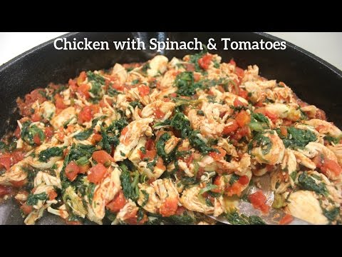 One Pan Chicken, Spinach and Tomatoes: An Easy Shredded Chicken Dinner Recipe