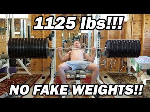 NOT FAKE WEIGHTS - 600lb Bench Press
