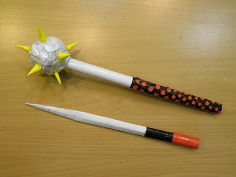 How to Make a Paper Mace with hidden blade - morgrnstern / morning star Weapon - Easy Tutorials