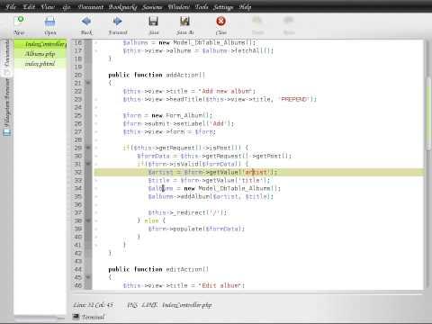 Zend Framework 1.8 tutorial 1 MVC basics