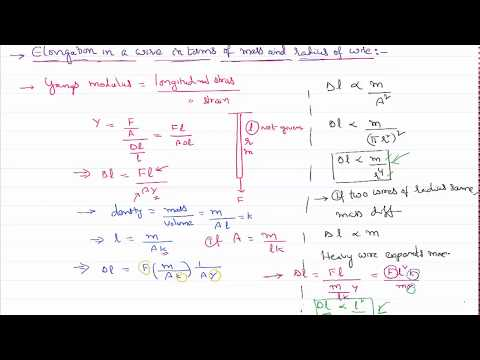 Elongation in wire in terms of its Mass and Radius for IIT-JEE and NEET Physics