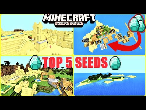 Minecraft PE - TOP 5 SEEDS ! HUGE VILLAGES, LOTS OF DIAMONDS, STRONGHOLDS & MORE !   MCPE 1.1/1.0.8